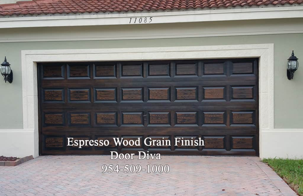 Espresso wood graage door
